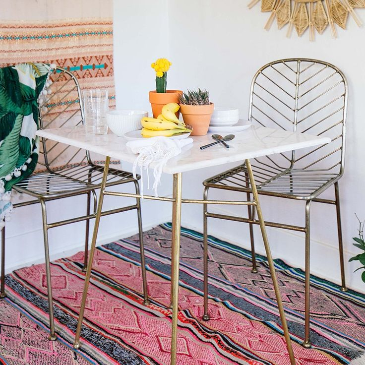 Collection: Justina Blakeney Material: Legs - Brass // Top - White Marble Indoor/Outdoor