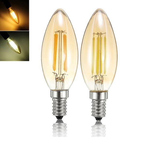 E14 4w Dimmable C35 Retro Filament Pure White Warm White Light Bulb Ac110v Ac220v