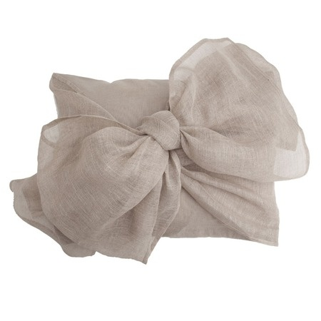 Simplicity Boudoir Bow Pillow in Flax - This linen and cotton-blend pillow