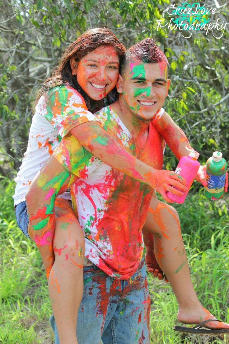 Couple paint fighting.
