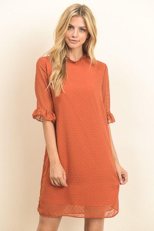 Burnt Orange Dress Ruffle Trim - Longhorn Fashions