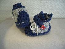 Детские сапоги синий/серый вязаный, 3-6 февр.