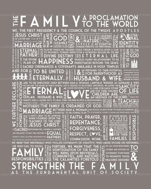The Family - A Proclamation to the World - Subway Art: Graphics Art, Idea, Lds Wall Decor, Subway Art, Families Proclamation Lov, Art Style, Lds Families Quotes Printable, Families Love, Family Proclamation