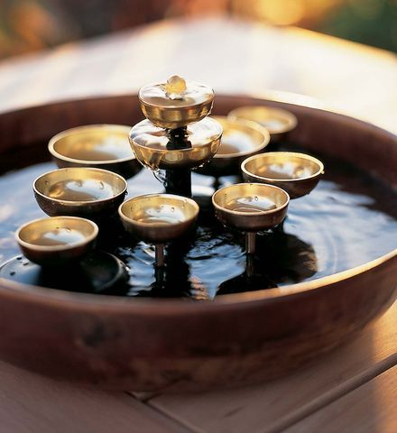 Water Bell Fountain: This tranquil fountain beautifully combines the relaxing sound of flowing water and the soothing, peaceful chiming of brass bells: Gardens Accessories, Belle Fountain, Water Features, Flowing Water, Outdoor Water Fountain, Outdoor Decor, Waterbel Fountain, Water Belle, Brass Belle