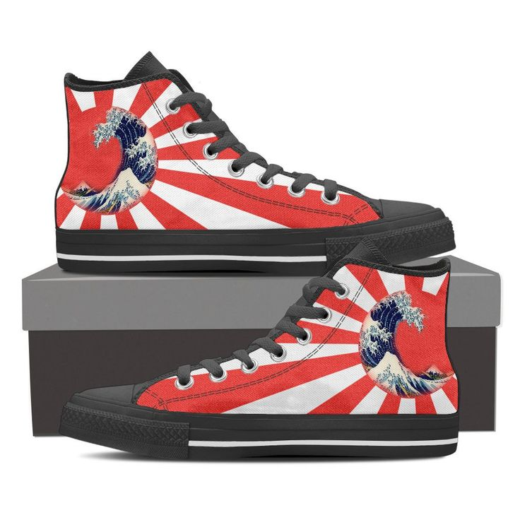 """Men's High Top Sneakers featuring Hokusai's """"Great Wave Off Kanagawa"""" in a Rising Sun. Available in Red & Orange Colourway Price: $69.95  Visit link to purchase"""