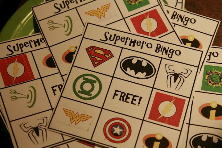 super hero bingo and a bad guy scavenger hunt, super hero bday party ideas!!