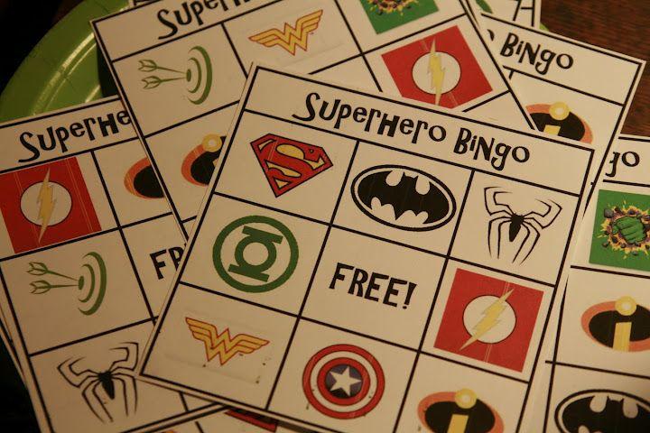super hero bingo and a bad guy scavenger hunt, super hero bday party ideas!!