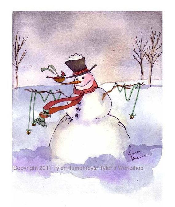 Snowman Card, Snowman Art, Snowman Greeting Card, Snowman lllustration Winter Watercolor Painting Print