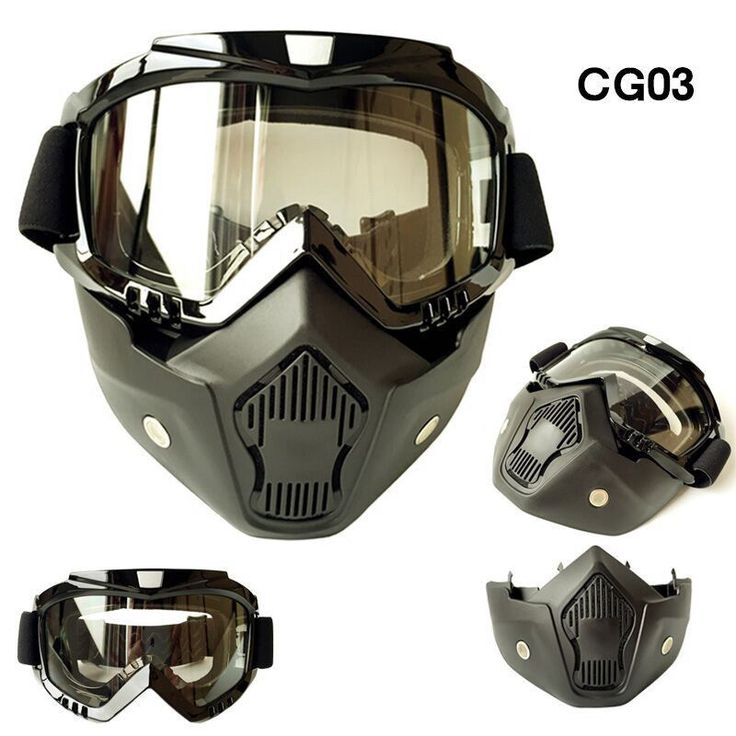 Motorcycle Harley Retro Open Face Helmet Goggle Mask Detachable Mouth Filter  #Cyclegear #Shield