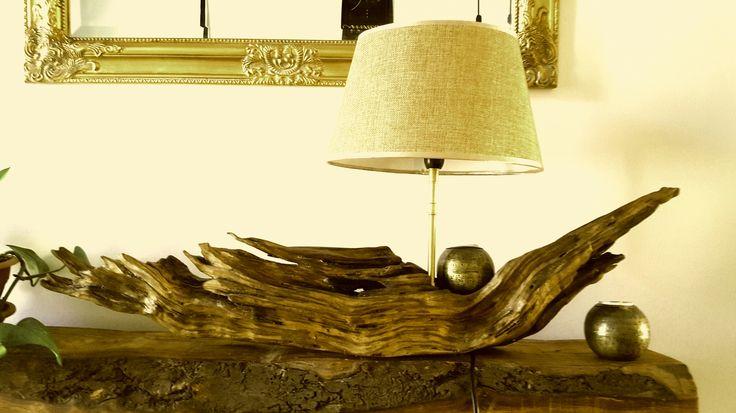 Lampara de diseño moderno única exclusiva madera de olivo