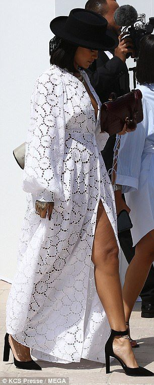 Rihanna shows off cleavage at Louis Vuitton Paris show | Daily Mail Online