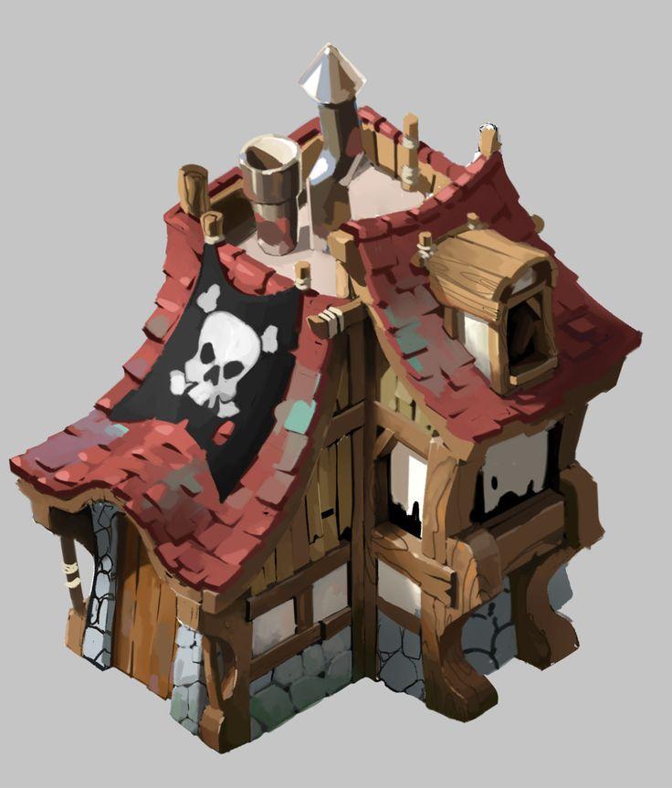 pirate house, Gabo Romero (gaboleps) on ArtStation at https://www.artstation.com/artwork/BO3zD