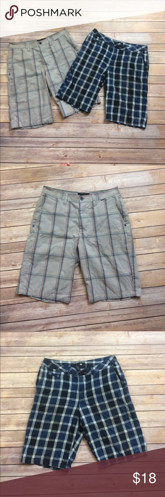 DC and Hurley men's plaid shorts Lot! Lightly worn grey Hurley men's  plaid shorts, size 29. And one lightly worn DC blue/black men's  plaid shorts. Size 29. Both in great condition! Hurley Shorts Cargo