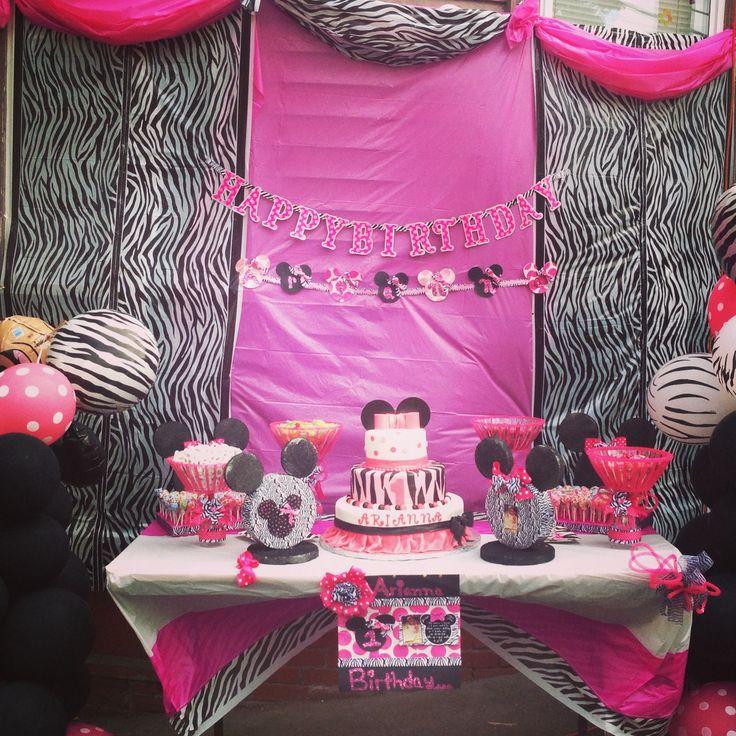 7 best Minnie Mouse with zebra print 1 birthday party arianna