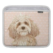 Labradoodle Love dog painting iPad pad horizontal Sleeves For iPads
