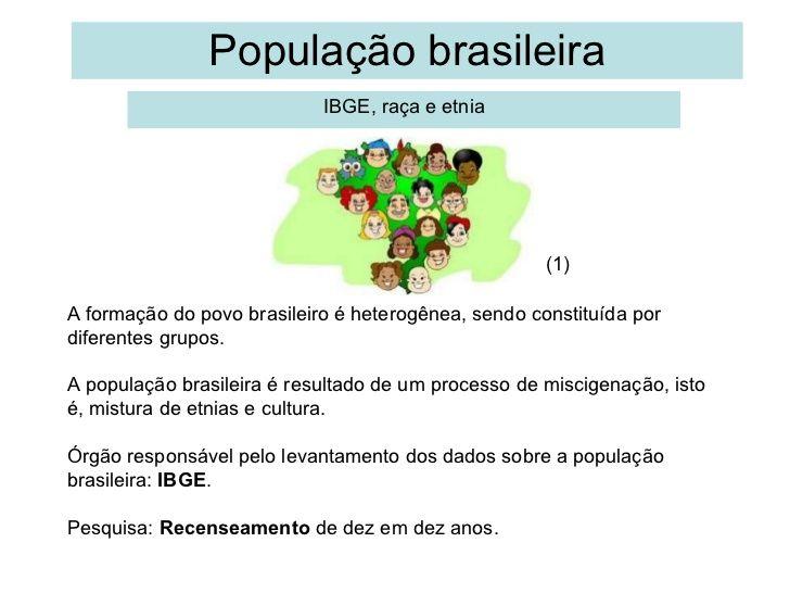 População brasileira IBGE, raça e etnia A formação do povo brasileiro é…
