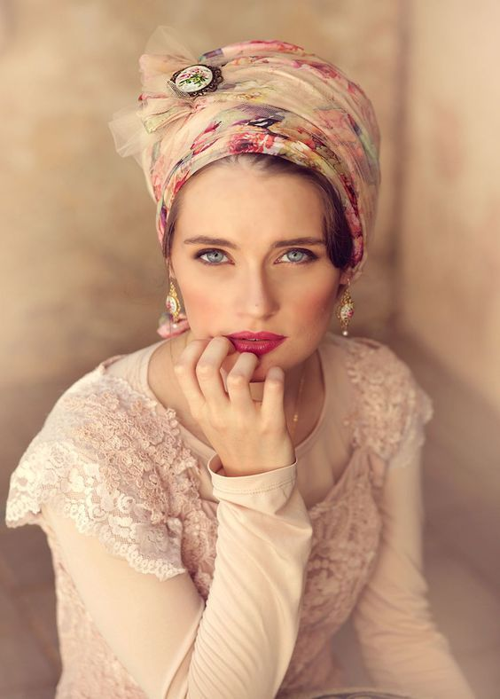 Mythically beautiful, powder and pink floral wrap head covering. Made of faux silk, and tulle, and decorated with a floral vintage pin. Turban hats, T...