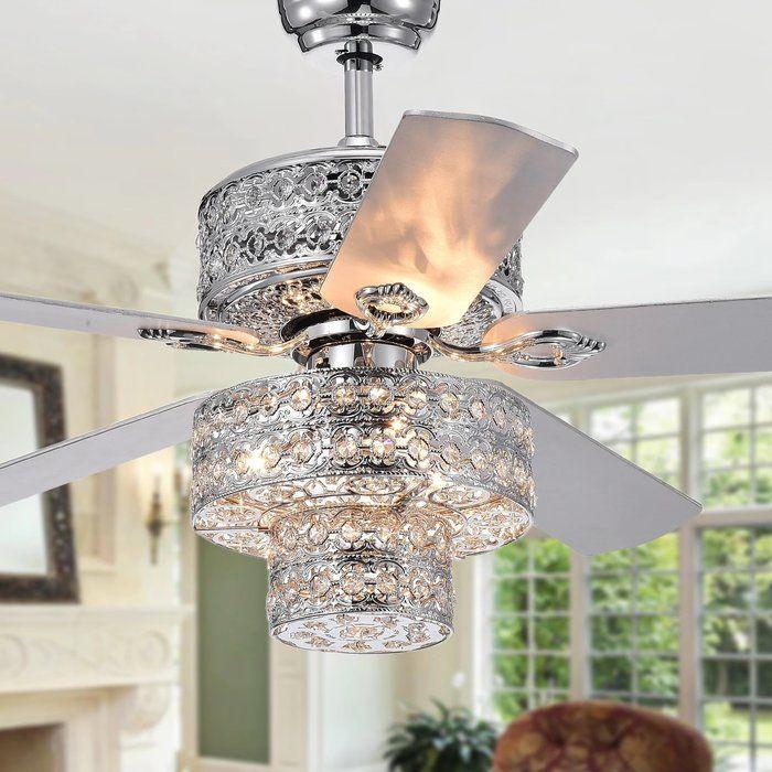 52 Parma 5 Blade Crystal Ceiling Fan With Light Kit Included Ceiling Fan Chandelier Ceiling Fan With Light Ceiling Fan