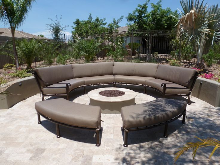 Custom Curved Outdoor Furniture Sectional Sunbrella Fabric Hand Crafted Iron Patio