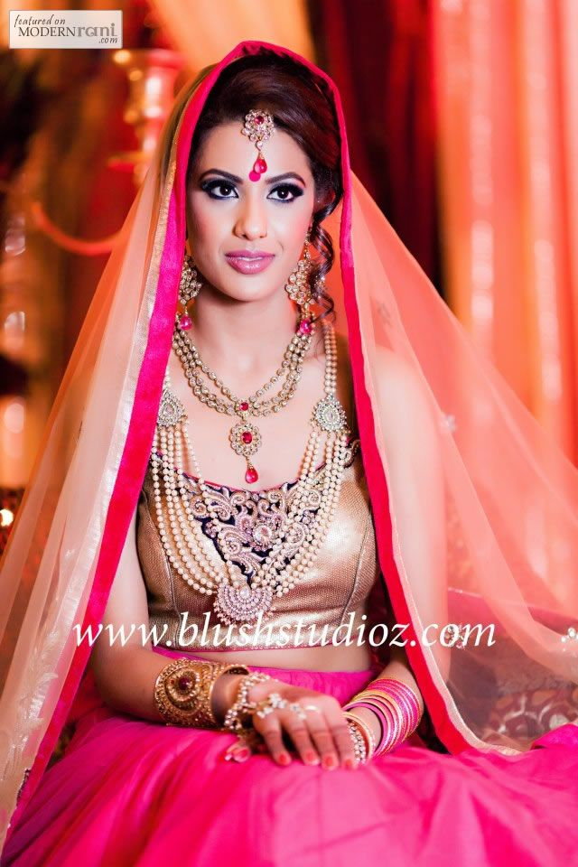 South Asian Bridal Hair Makeup Lengha Jewellery - more inspiration @ http://www.ModernRani.com
