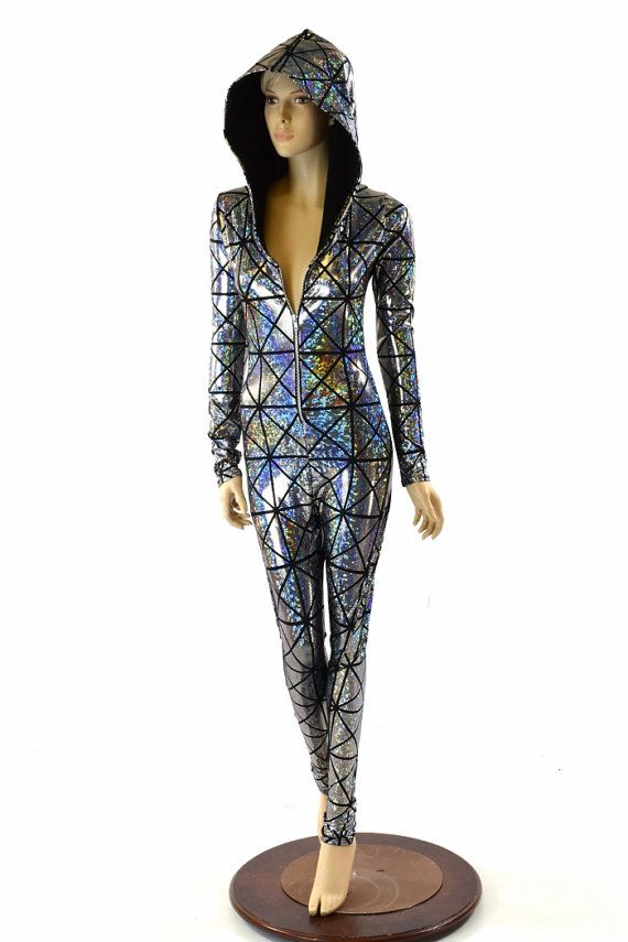 Silver on Black Cracked Tiles Holographic Zipper Front Long Sleeve Hoodie Catsuit w/Black Zen Hood Lining Rave Festival Buring Man 152157