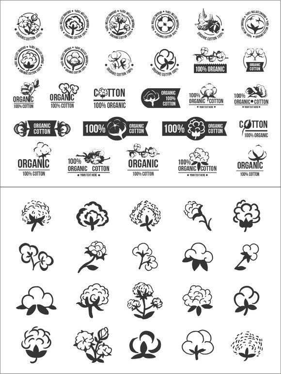 Cotton icons logo set. Clothes Icons. $10.00