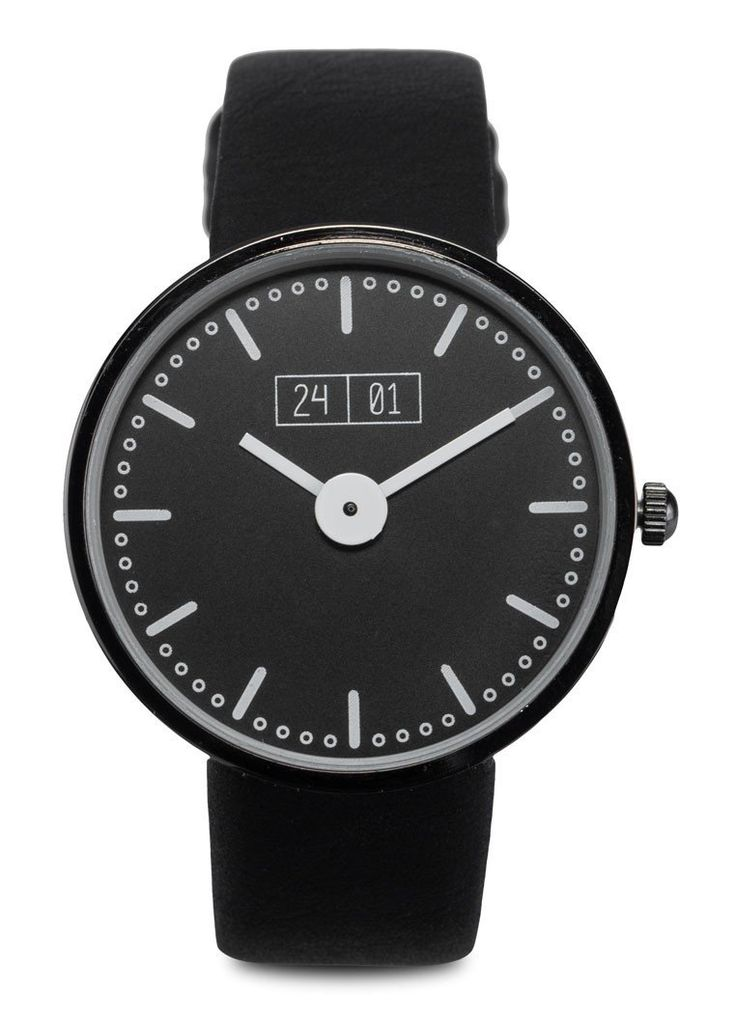 Black Men's Faux Leather Strap Watch by 24:01. Faux leather strap with round shape face, with gunmetal accent tone, case made from metal alloy, quartz movement, this black strap watch sure look so trendy, suitable for every occasion or for everyday use.%0A http://www.zocko.com/z/JG0wB