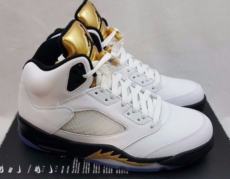 2016 Nike Air Jordan 5 V Retro Olympic Gold Medal Sneakers 136027-133 Size  7.5