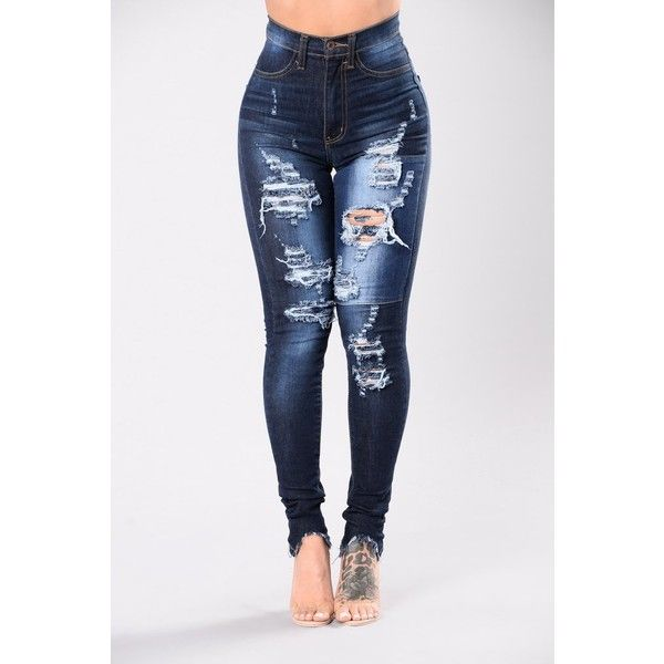 Little Details Jeans Medium Blue ($38) ❤ liked on Polyvore featuring jeans, high waisted distressed jeans, distressed denim jeans, distressed jeans, white jeans and destroyed jeans