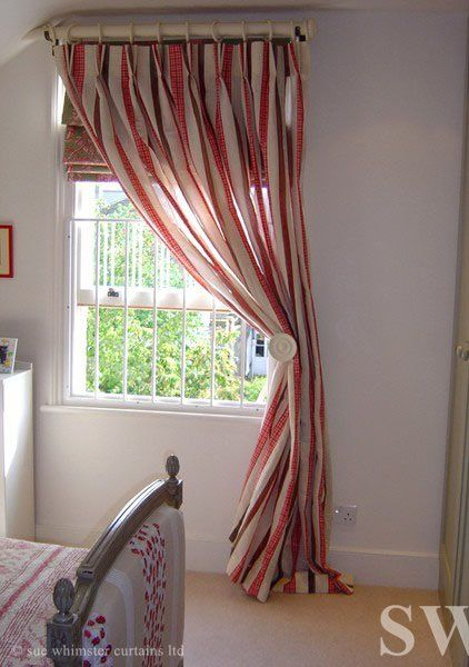 Roman Blind With One Sided Curtain Red And Cream Stripes