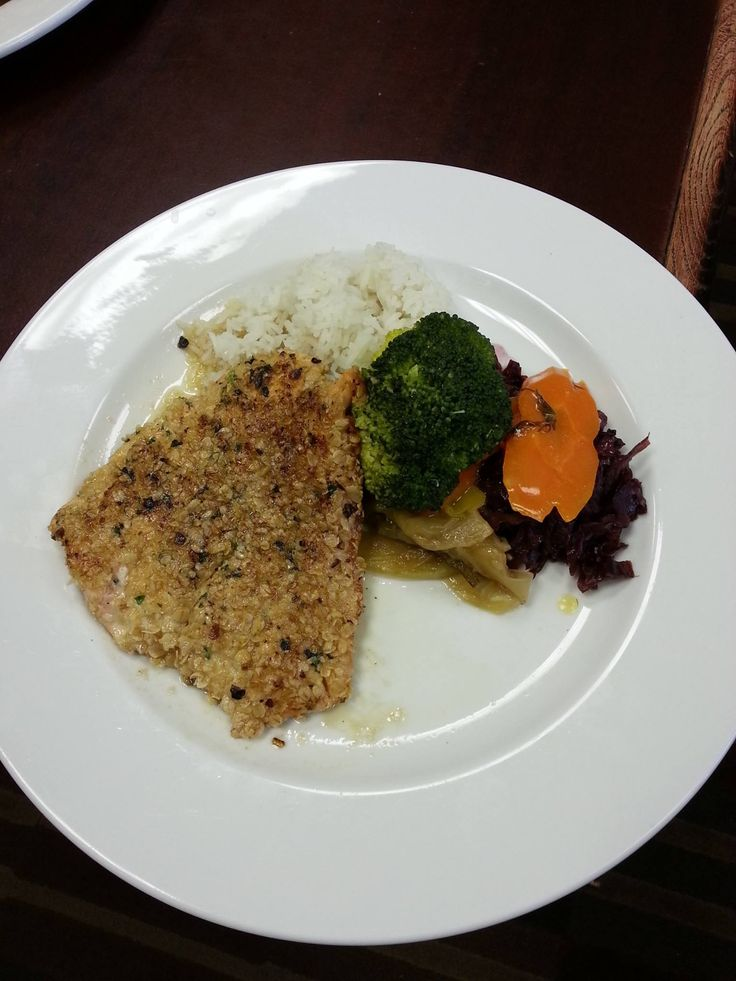 OAT CRUSTED SALMON!  *Oven baked fresh Atlantic salmon encrusted with oats and topped with a brown maple butter sauce.