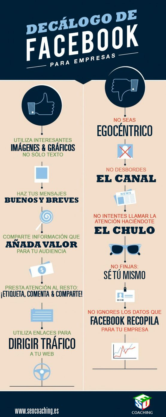 #Infografia #RedesSociales Decálogo de Facebook para empresas. #TAVnews