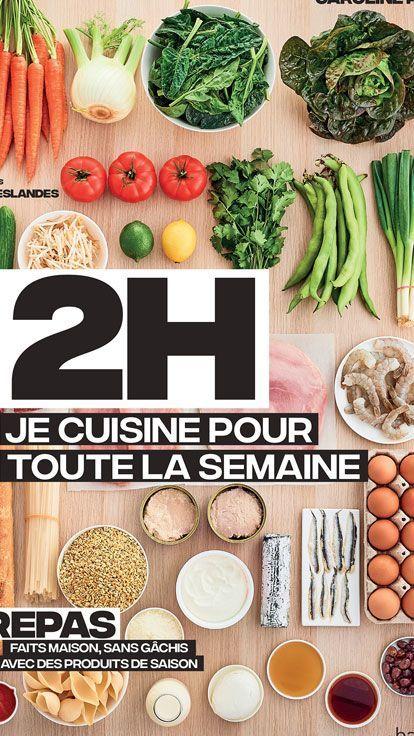 'En 2h je delicacies pour toute la semaine' ou l'artwork de préparer ses repas à l'avance