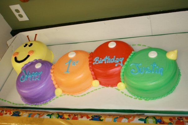 My son's first birthday cake- Baby Einstein theme! Just a picture ... I had it made at a local bakery!!!