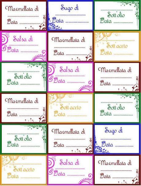 Etichette per confetture, marmellate e conserve