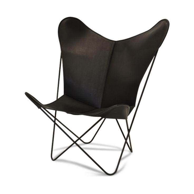 Papillon lenestol fra OX, Denmarq, designet av Dennis Marquart. Lenestolen i svartfarget lær er...