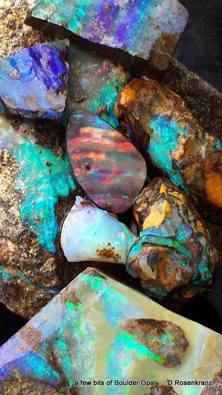 a few bits of Boulder Opal from near Quilpie,Qld. Australia