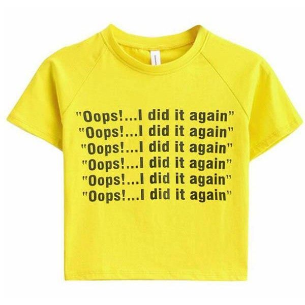 Oops I Did It Again Crop Tee ($24) ❤ liked on Polyvore featuring tops, t-shirts, crop tee, yellow t shirt, cut-out crop tops, yellow tee and crop t shirt