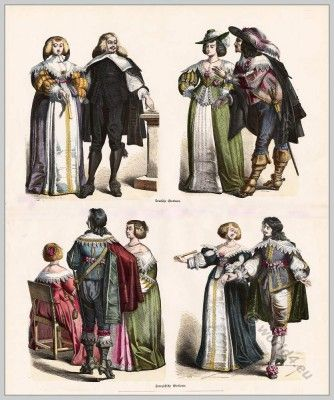 Costumes of the late 17th century. French and German nobility.