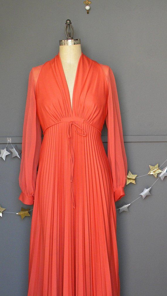 ec634cf064 Vintage Coral maxi dress Pleated maxi dress 70s Coral Full Length dress  Tangerine sheer long sleeve