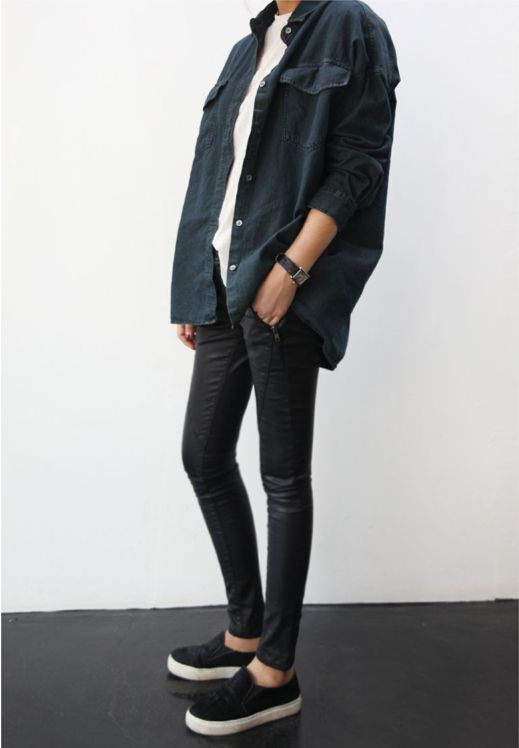 Over sized boyfriend shirt. Via Death by Elocution