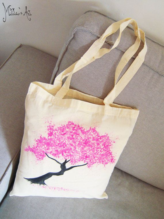 Japanese hand painted bags series / Cherry Blossom - Sakura bag / Japan tote bag