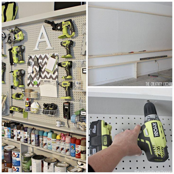Tutorial for DIY Narrow Pegboard Storage Wall {The Creativity Exchange}