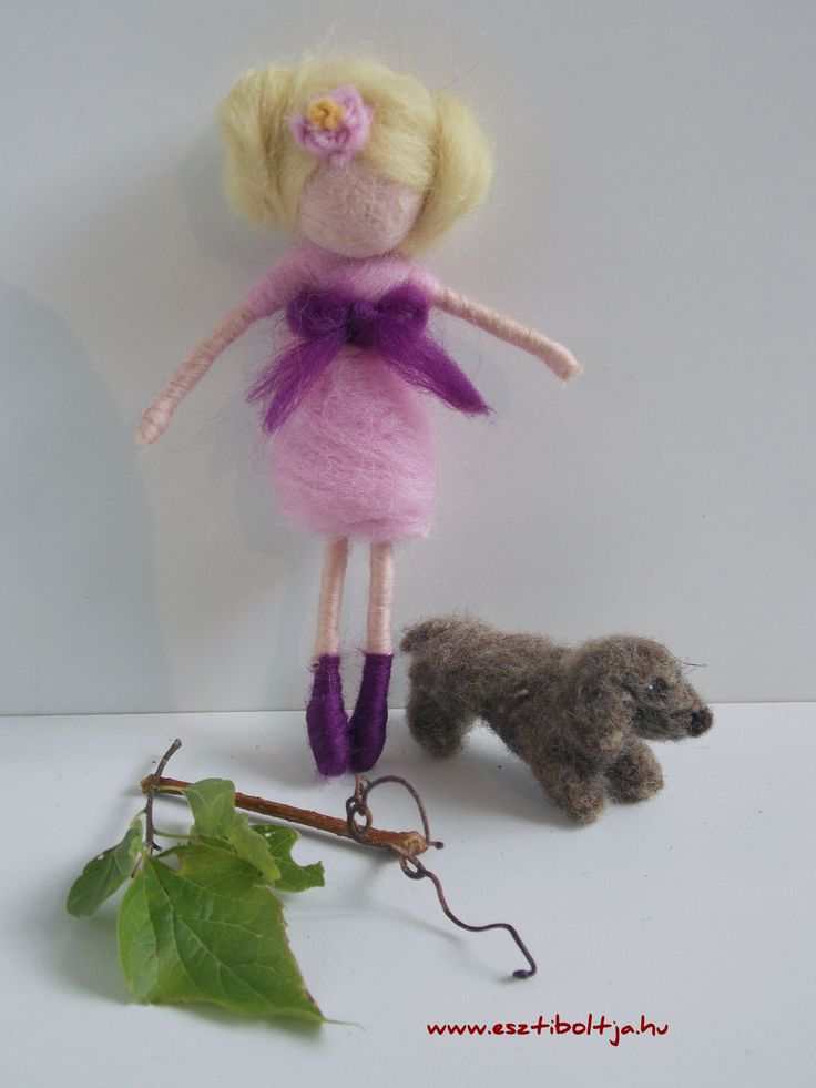Needle felted little doll/fairy with her dog