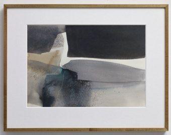 Abstract aquarel landschap origineel schilderij abstracte