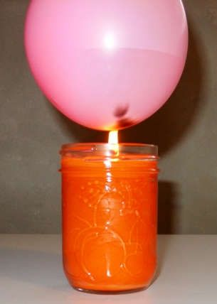 Conduction - The water absorbs the heat of the candle. The balloon doesn't explode.