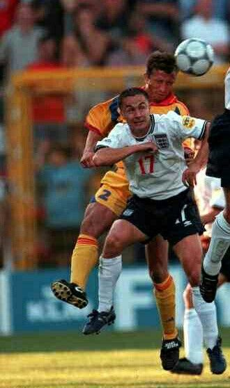 Romania 3 England 2 in 2000 in Charleroi. Dan Petrescu beats Dennis Wise in the air in Group A at Euro 2000.