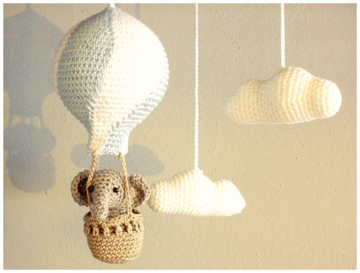 Hot air balloon crochet with elephant