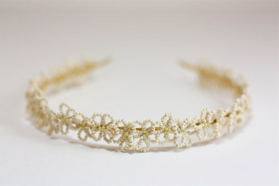 French beaded flower queen anne's lace tiara by ProjectsbyMargie, $40.00