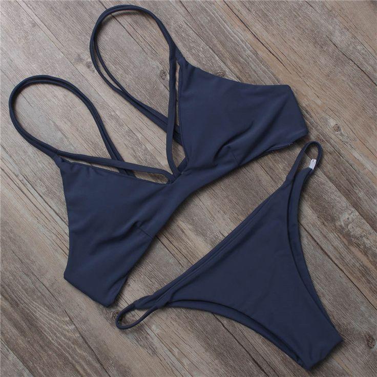 Solid Halter Bandage Swimsuit Bikini Set For Women